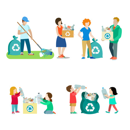 Family life recycling creative vector icon set. Young man woman collect plastic bottle paper with rake in box and bag illustration on white background. Children help adults gather bottle for recycle. Vettoriali