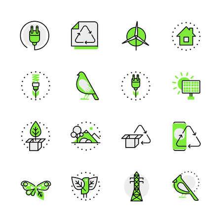 aplication: Green planet nature ecology circulation alternative source energy lineart flat vector icon set. Web site interface elements color line art mobile app aplication objects. Line-art icons collection.