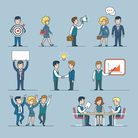Linear line art flat style business people figures icons. Web template vector icon set. Lifestyle situations icons. Marketing target chat message talk banner hands handshake party report presentation. Ilustração
