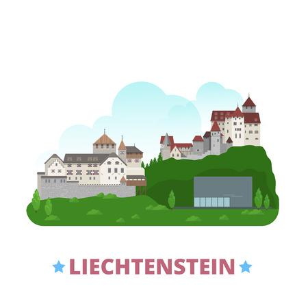 web site design template: Liechtenstein country design template. Flat cartoon style historic sight showplace web site vector illustration. World vacation travel Europe European collection. Gutenberg Vaduz Castle Kunstmuseum. Illustration