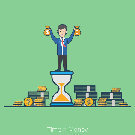 holding notes: Linear flat line art style time is money business concept. Businessman on hourglass holding moneybags stacks of dollar coin notes. Conceptual businesspeople vector illustration collection.