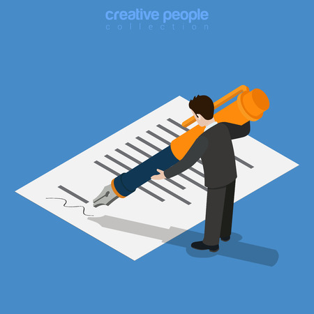 micro: Isometric business concept. Micro office worker man sign approve by printed document huge ink pen. Flat 3d isometry web site conceptual vector illustration. Creative people collection. Illustration