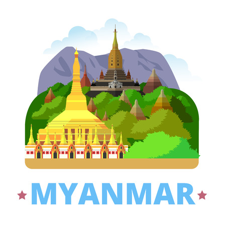 myanmar: Myanmar country magnet design template. Flat cartoon style historic sight showplace web site vector illustration. World vacation travel sightseeing Asia Asian collection. Old Bagan, Mandalay Region.
