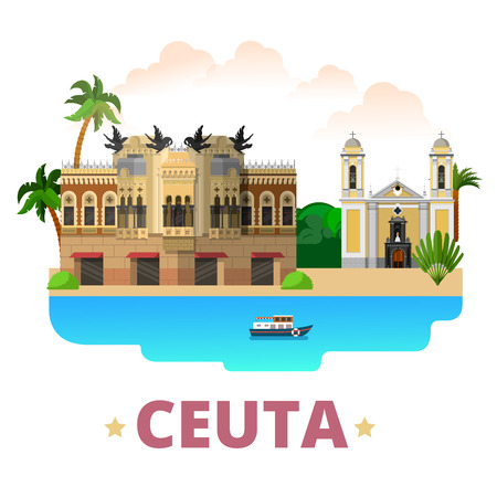 country house style: Ceuta country design template. Flat cartoon style historic sight showplace web site vector illustration. World vacation travel sightseeing Africa African collection. House of the Dragons Cathedral.