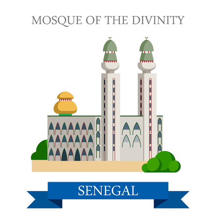 dakar: Mosque of the Divinity in Dakar in Senegal. Flat cartoon style historic sight showplace attraction web site vector illustration. World countries cities vacation travel sightseeing Africa collection.