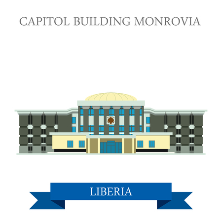 historic building: Capitol Building Monrovia in Liberia. Flat cartoon style historic sight showplace attraction web site vector illustration. World countries cities vacation travel sightseeing Africa collection.
