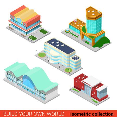 building block: Set city building block abstract shopping mall business center skyscraper market concept. Flat 3d isometric isometry style vector illustration. Build your own infographics world collection.