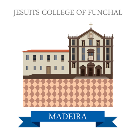 madeira: Jesuits College of Funchal in Madeira. Flat cartoon style historic sight showplace attraction web site vector illustration. World countries cities vacation travel sightseeing Africa island nation collection.