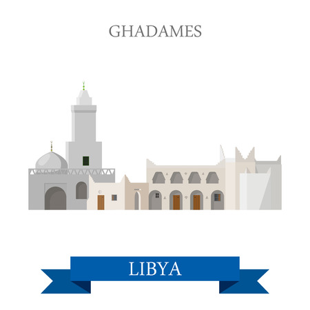 sightseeings: Ghadames in Libya. Flat cartoon style historic sight showplace attraction web site vector illustration. World countries cities vacation travel sightseeing Africa collection. Illustration