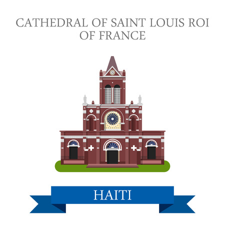 sightseeings: Cathedral of Saint Louis Roi of France in Haiti. Flat cartoon style historic sight showplace attraction web site vector illustration. World countries cities travel sightseeing America collection