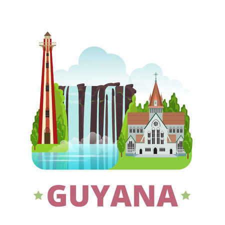 georgetown: Guyana country design template. Flat cartoon style historic sight showplace web site vector illustration. World travel sightseeing South America collection. Georgetown Lighthouse St Georges Cathedral.