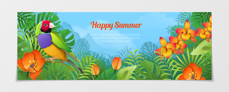 happy web: Happy summer time tourism template. Time to travel vacation agency web site flyer brochure vector illustration. Nature Bird finches plant flower color background.