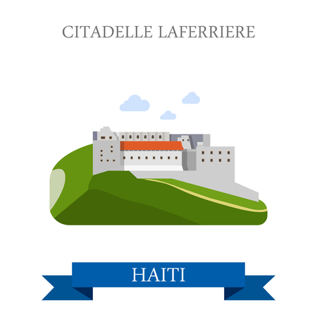 central america: Citadelle Laferriere in Haiti. Flat cartoon style historic sight showplace attraction web site vector illustration. World countries cities vacation travel sightseeing Central America collection.