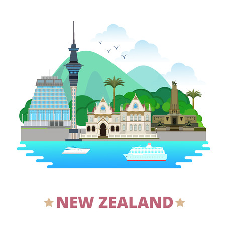 New Zealand country flat cartoon style historic place web vector illustration. World travel sight Australia collection. Parliamentary Library Sky Tower Wellington Cenotaph Beehive Parliament Building. Ilustrace