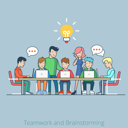 Linear line art flat style idea brainstorming creative team concept web infographics vector illustration. Cartoon people collection. Group of casual young male female working table icon. Vettoriali