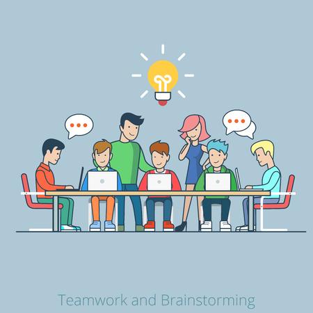 Lineaire lijntekeningen vlakke stijl idee brainstorming creatief team concept web infographics vector illustratie. Cartoon mensen collectie. Groep van casual jonge man vrouw werktafel icoon.