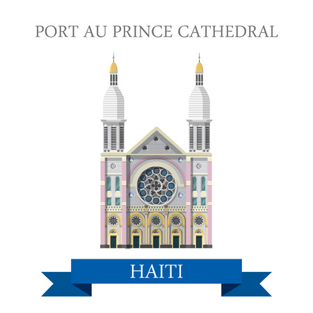 sightseeings: Port au Prince Cathedral in Haiti. Flat cartoon style historic sight showplace attraction web site vector illustration. World countries cities vacation travel sightseeing Central America collection.
