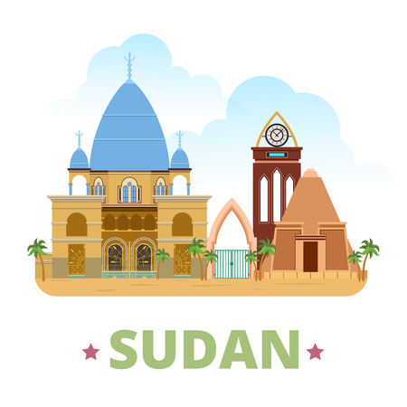 vacation: Sudan country flat cartoon style historic sight showplace web site vector illustration. World travel sightseeing Africa African collection. Tomb of the Mahdi Pyramids of Meroe University of Khartoum.