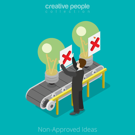 transporter: Isometric Non-approved business Ideas concept. Flat 3d isometry style web site vector illustration. Creative people collection. Man not approved idea conveyor transporter lamp marks cross veto.