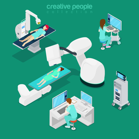 diagnostic: Isometric medical hospital computer diagnostic electronic modern equipment doctor operator. Innovative medicine concept. Flat 3d isometry style web site vector illustration. Creative people collection