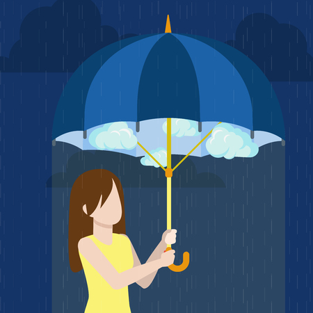 defend: Defend defense against trouble concept. Brunet young woman under cloudy sky vector. Girl under umbrella rainy weather outside warm sunny inside flat style illustration on blue dark background. Illustration