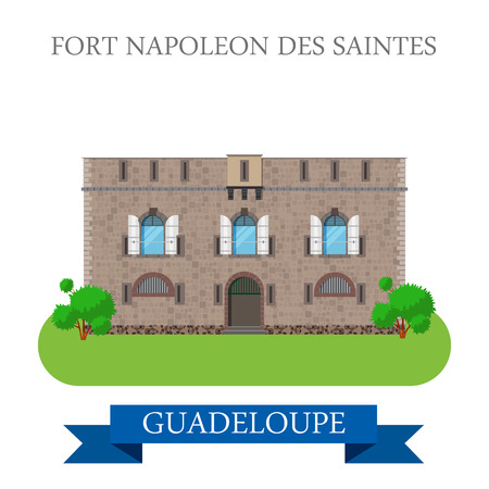 napoleon: Fort Napoleon des Saintes in Guadeloupe. Flat cartoon style historic sight showplace attraction web site vector illustration. World countries cities vacation travel sightseeing America collection.