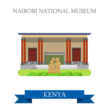 points of interest: Nairobi National Museum in Kenya. Flat cartoon style historic sight showplace attraction web site vector illustration. World countries cities vacation travel sightseeing Africa collection.