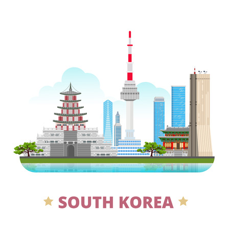 South Korea country design flat cartoon style historic place vector illustration. World vacation travel sightseeing Asia collection. Gyeongbokgung Palace 63 building Natinal Folk Museum N Seoul Tower.