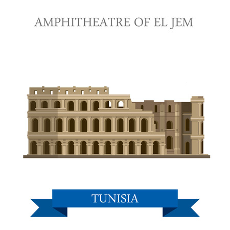 vacation: Amphitheatre of El Jem in Tunisia. Flat cartoon style historic sight showplace attraction web site vector illustration. World countries cities vacation travel sightseeing Africa collection.