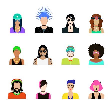 cat suit: Subculture hair style concept vector icon set. Man and woman representatives of life styles illustration. Punk goth rock emo hipster rapper tattooed in glances hat dreadlocks headband thorns hairstyle
