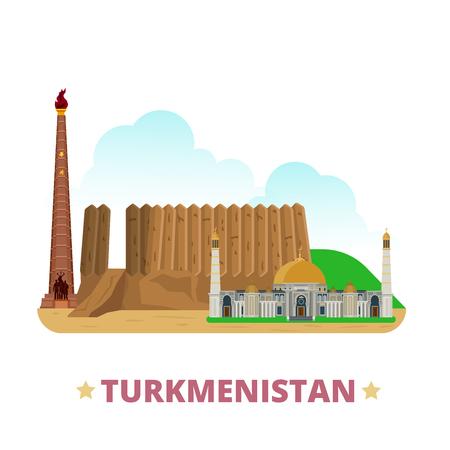 Turkménistan modèle de conception de pays. Appartement style de bande dessinée historique vue showplace site web vecteur d'illustration. Monde vacances Voyage visites collection asiatique Asie. Merv Turkmenbashi Mosquée Ruhy.