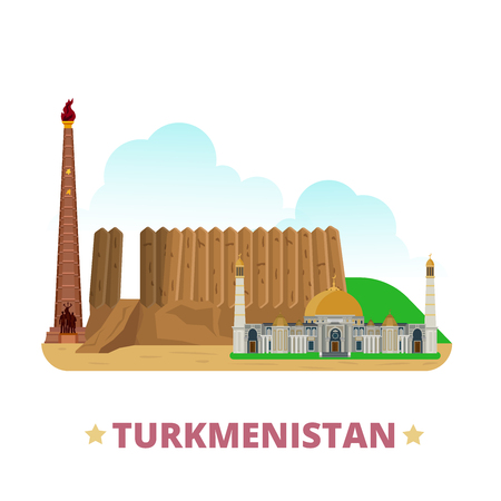 web site design template: Turkmenistan country design template. Flat cartoon style historic sight showplace web site vector illustration. World vacation travel sightseeing Asia Asian collection. Merv Turkmenbashi Ruhy Mosque. Illustration