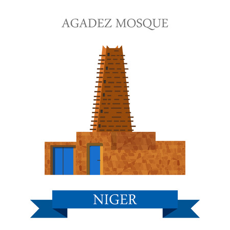 points of interest: Agadez Mosque in Niger. Flat cartoon style historic sight showplace attraction web site vector illustration. World countries cities vacation travel sightseeing Africa collection.