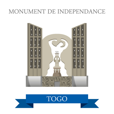 independance: Monument de Independance in Togo. Flat cartoon style historic sight showplace attraction web site vector illustration. World countries cities vacation travel sightseeing Africa collection.