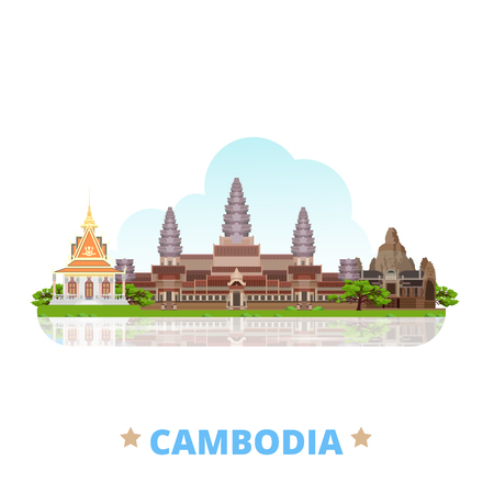 wat: Cambodia country design template. Flat cartoon style historic sight showplace web vector illustration. World vacation travel Asia Asian collection. Bayon Khmer temple Angkor Wat complex Silver Pagoda.