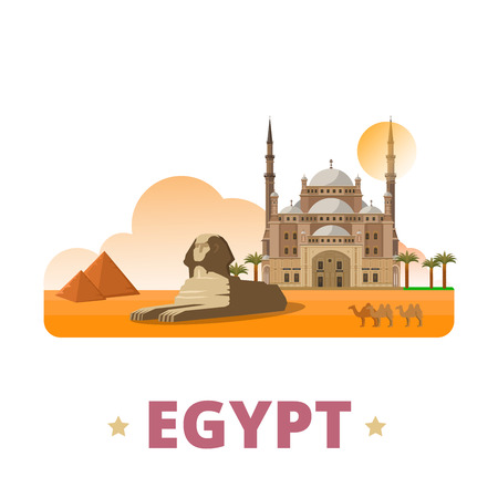 Egypt country design template. Flat cartoon style historic sight showplace web site vector illustration. World vacation travel sightseeing Africa African collection. Sphinx Pyramids in Cairo Citadel.