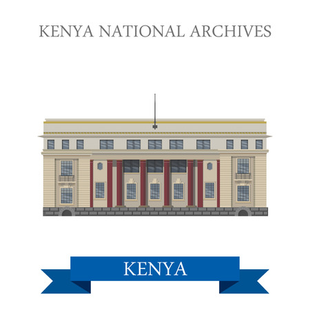 point of interest: Kenya National Archives in Nairobi. Flat cartoon style historic sight showplace attraction web site vector illustration. World countries cities travel sightseeing Africa collection.