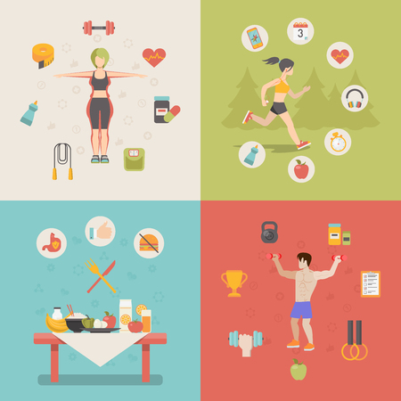 exercising: Healthy life concept vector illustration set. People sports health farm fresh food web site banner image. Woman man running cup dumbbell skipping rope apple table Infographics.