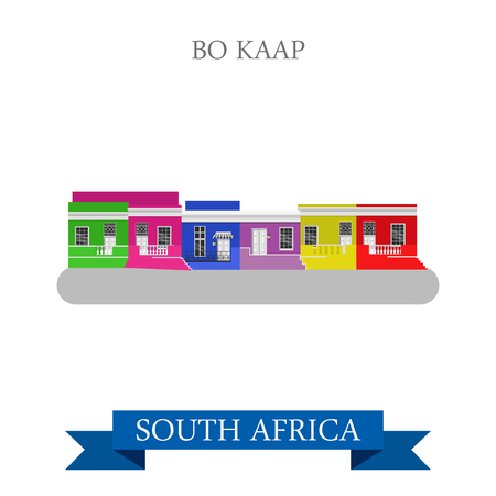 points of interest: Bo-Kaap in Cape Town in South Africa. Flat cartoon style historic sight showplace attraction web site vector illustration. World countries cities vacation travel sightseeing Africa collection.