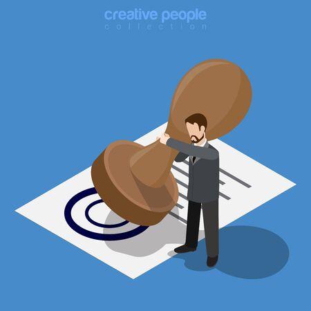 concepto de negocio isométrica. Micro hombre trabajador de oficina hacer aprobar por el gran sello de documento impreso. 3d isometría sitio web ilustración vectorial conceptual plana. personas colección creativa.