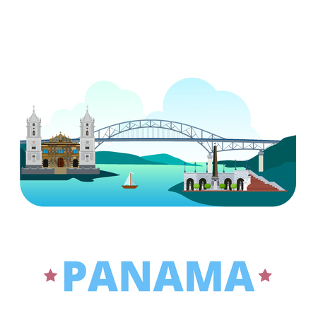 Panama country flat cartoon style historic sight showplace web site vector illustration. World vacation travel North America collection. Bridge Americas Metropolitan Cathedral St Mary Las Bovedas. 일러스트