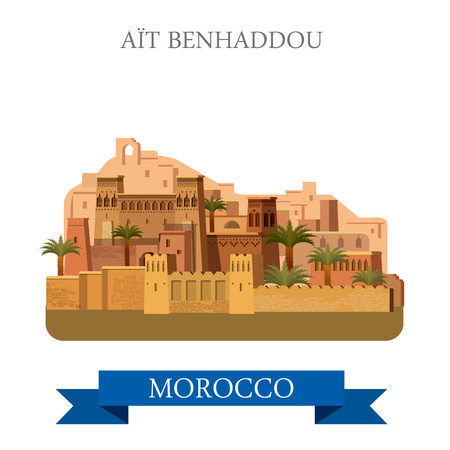 point of interest: Aït Benhaddou in Marocco. Flat cartoon style historic sight showplace attraction web site vector illustration. World countries cities vacation travel sightseeing Africa collection.