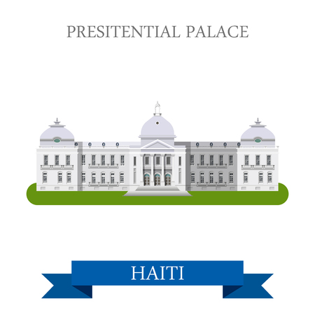 central america: Presidential Palace in Port-au-Prince Haiti. Flat cartoon style historic sight showplace attraction web site vector illustration. World countries cities travel sightseeing Central America collection.