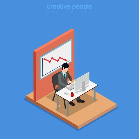 sit down: Isometric business concept flat 3d isometry web site conceptual vector illustration. Creative people collection. Office businessman work table monitor chair graphic falling board wall unsuccessful.
