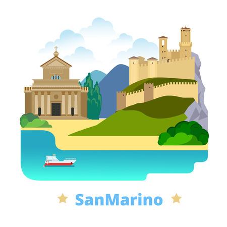 web site design template: San Marino country magnet design template. Flat cartoon style historic sight showplace web site vector illustration. World vacation travel Europe European collection. Basilica di San Marino Guaita.