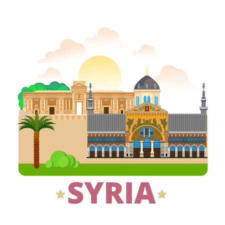 Syria country fridge magnet design template. Flat cartoon style historic sight showplace web site vector illustration. World vacation travel sightseeing Asia Asian collection. Palmyra Umayyad Mosque.