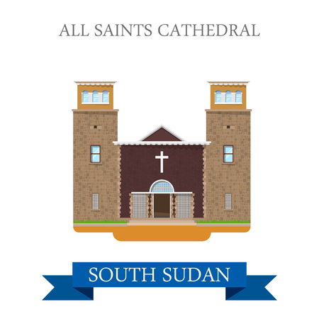 sudan: All Saints Cathedral in South Sudan. Flat cartoon style historic sight showplace attraction web site vector illustration. World countries cities vacation travel sightseeing Africa collection. Illustration
