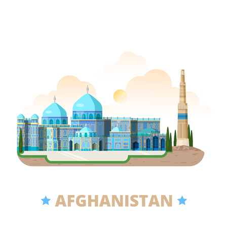 asia style: Afghanistan country magnet design template. Flat cartoon style historic sight showplace web vector illustration. World vacation travel sightseeing Asia Asian collection. Blue Mosque Minaret of Jam. Illustration