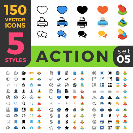 150 Action Settings ui icon set. Linear outline flat isometric 5 styles icons. Five style vector mobile app application software interface web site element sign symbol 2d 3d object collection.
