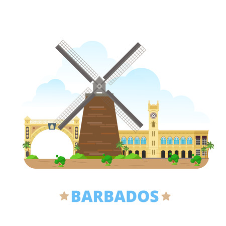 sightseeings: Barbados country design template. Flat cartoon style historic sight web site vector illustration. World travel North America collection. Morgan Lewis Windmill Independence Arch Parliament Buildings.